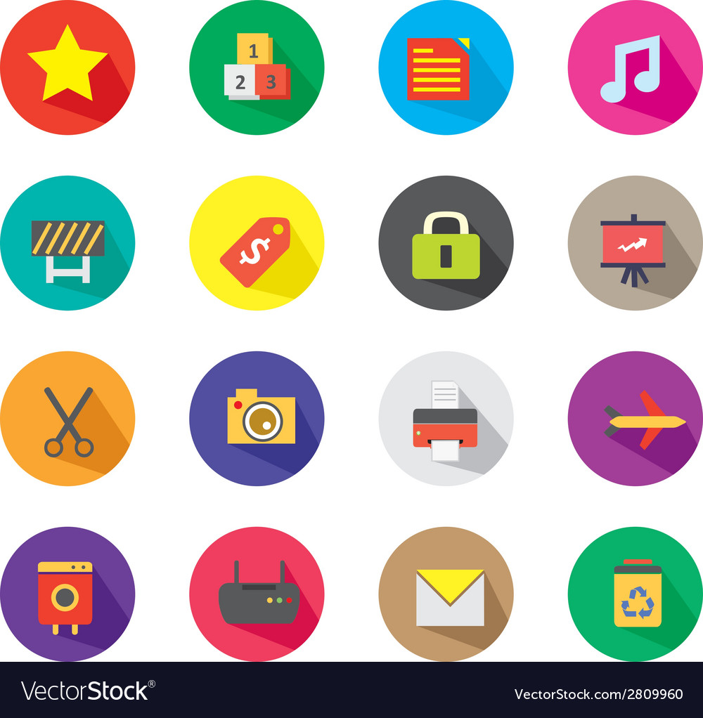 Long shadow icons 3 vector | Price: 1 Credit (USD $1)