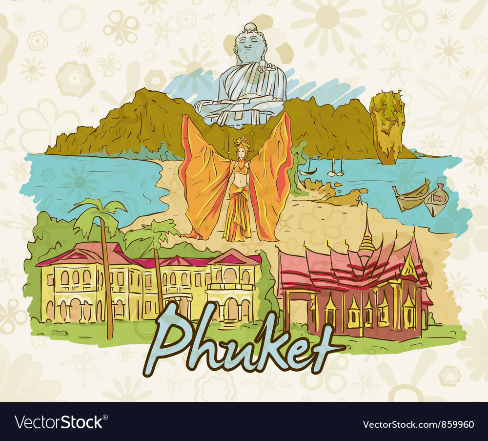 Phuket doodles vector | Price: 3 Credit (USD $3)