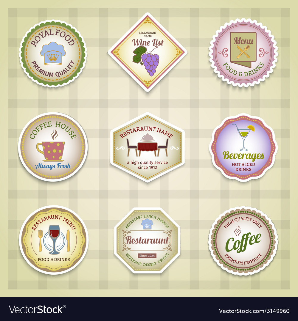 Restaurant label set color vector | Price: 1 Credit (USD $1)