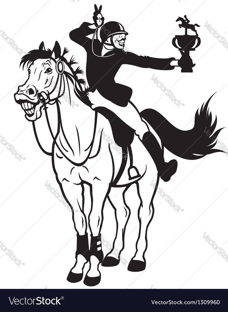 Rider winner black white vector | Price: 1 Credit (USD $1)