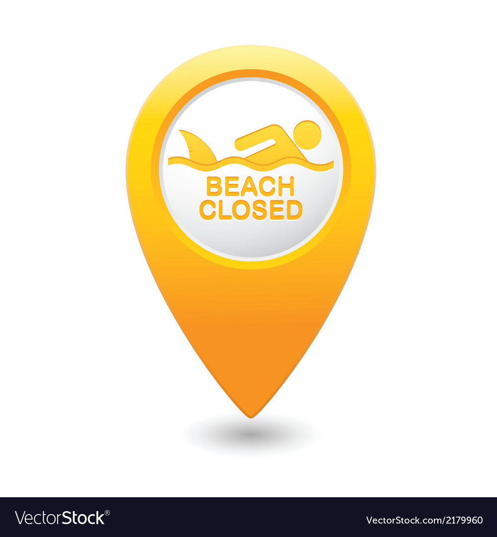 Shark sighting icon yellow map pointer vector | Price: 1 Credit (USD $1)