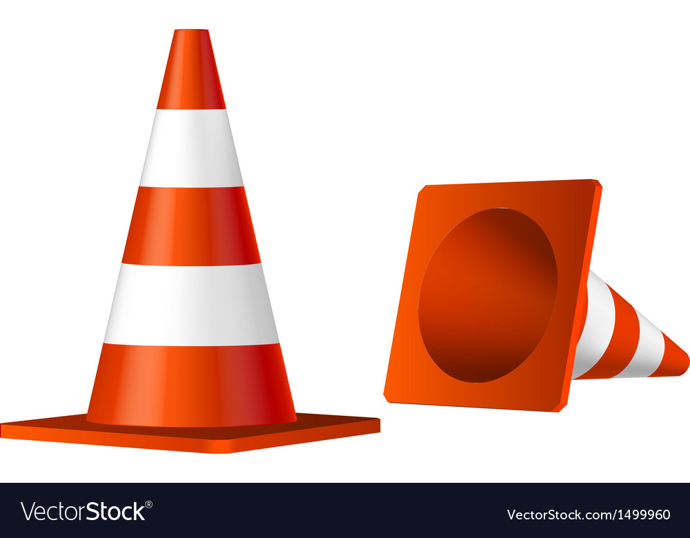 Traffic cones isolated object vector | Price: 1 Credit (USD $1)