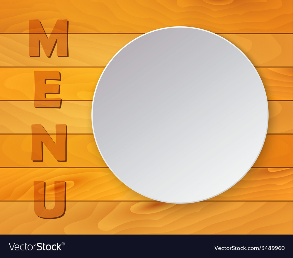 White plate on wood background for restaurant menu vector | Price: 1 Credit (USD $1)