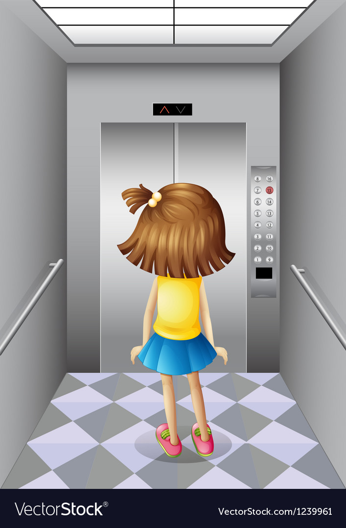 A little girl at the elevator vector | Price: 1 Credit (USD $1)