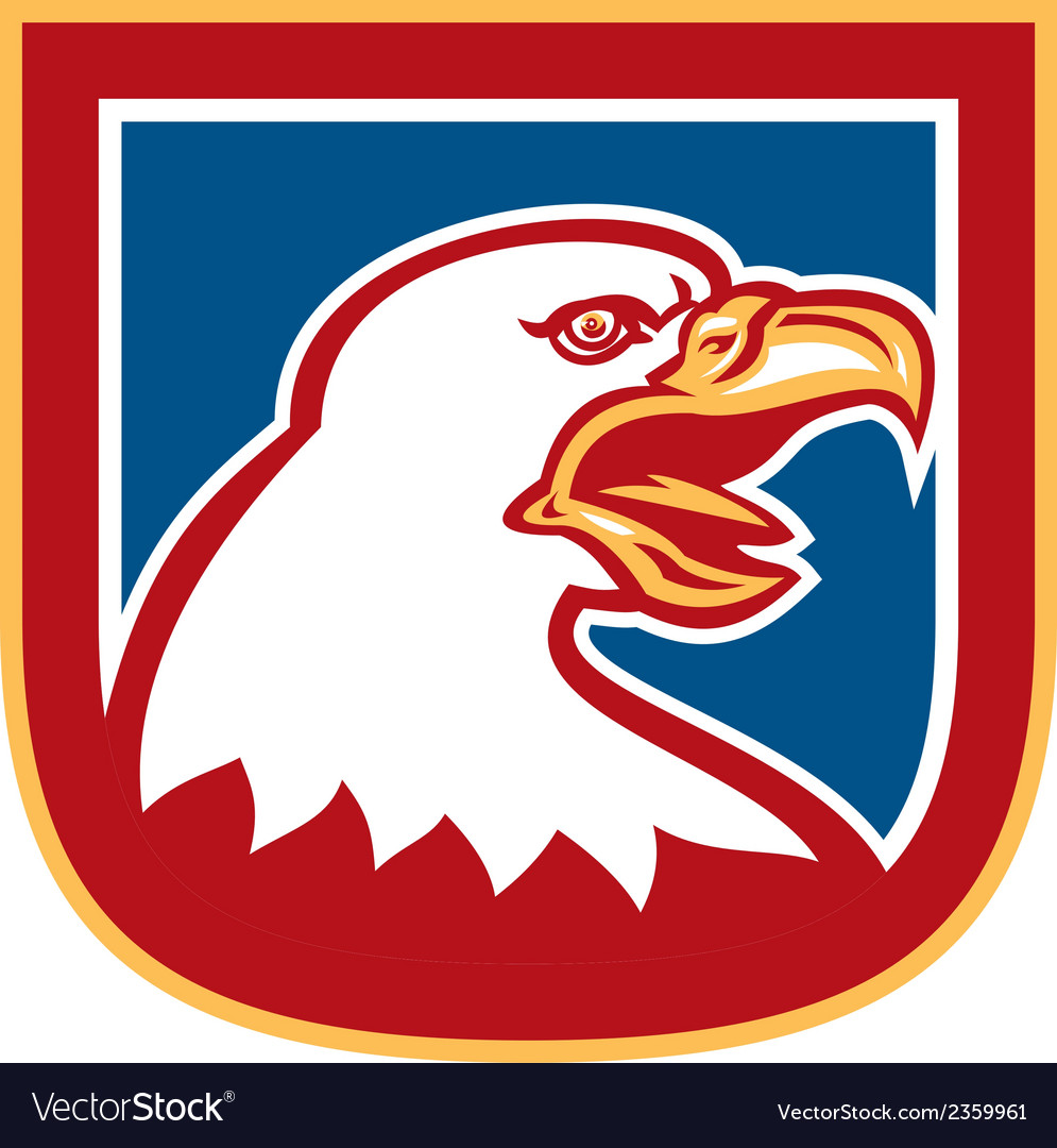American bald eagle head shield retro vector