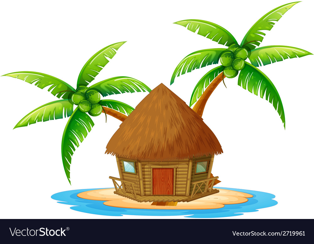 An island with a nipa hut vector | Price: 1 Credit (USD $1)