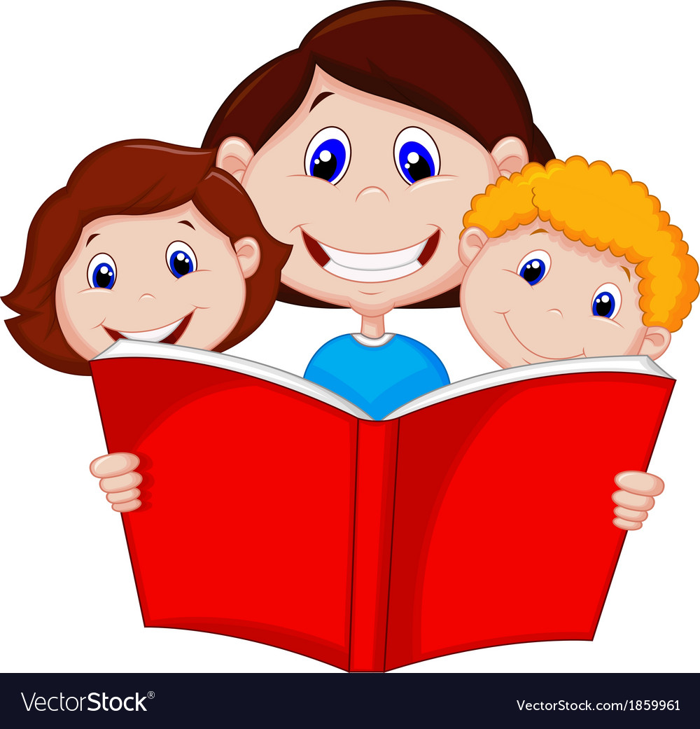 Cartoon mother reading book to her children vector | Price: 1 Credit (USD $1)