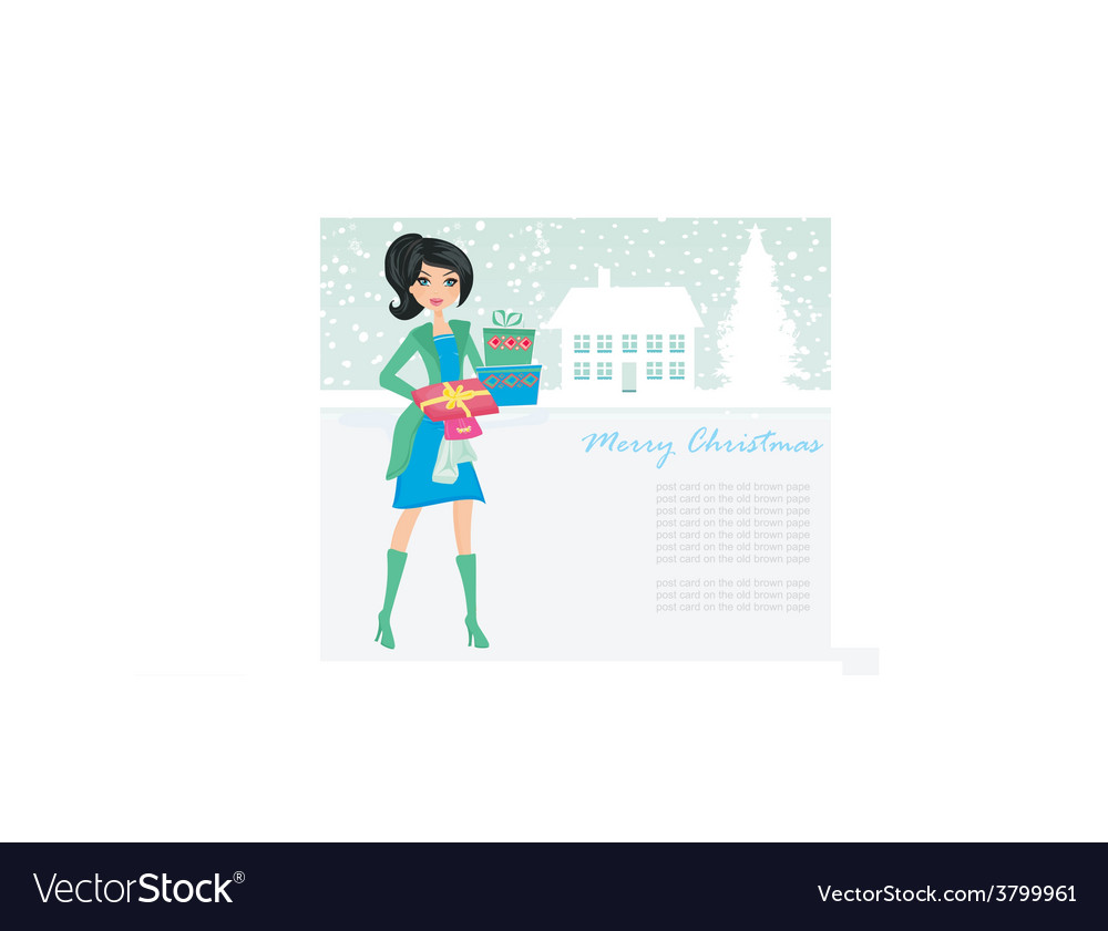 Fashion shopping girl with shopping bags and gift vector | Price: 1 Credit (USD $1)