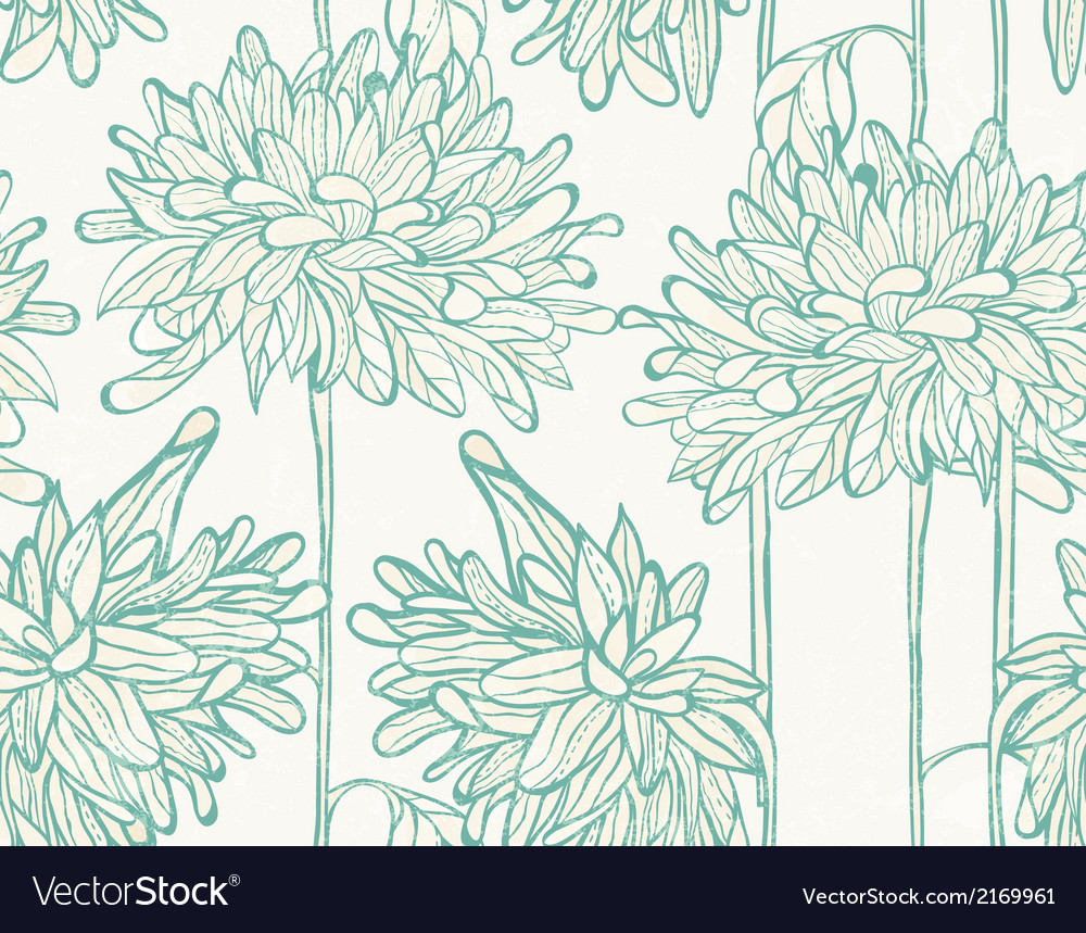Hand drawn pattern with chrysanthemum vector | Price: 1 Credit (USD $1)