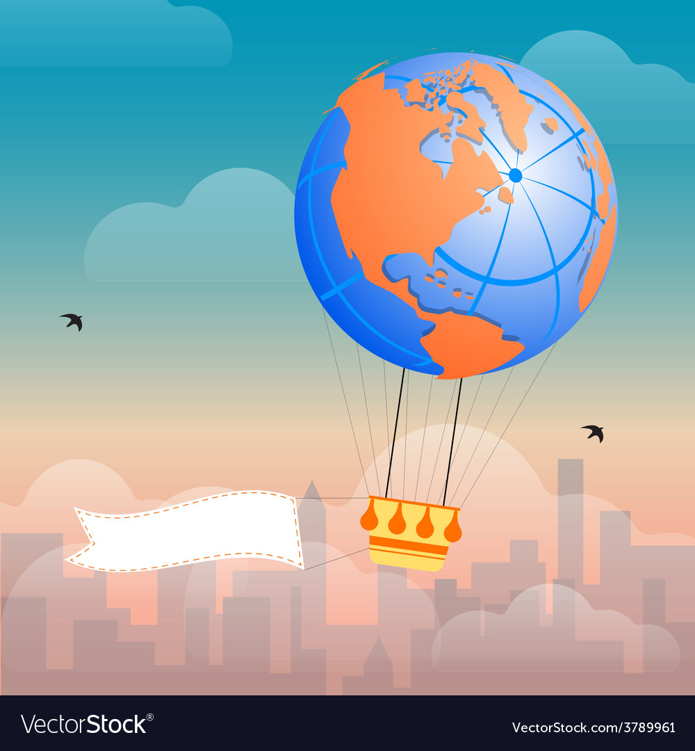 Hot air balloon and clouds vector   Price: 1 Credit (USD $1)