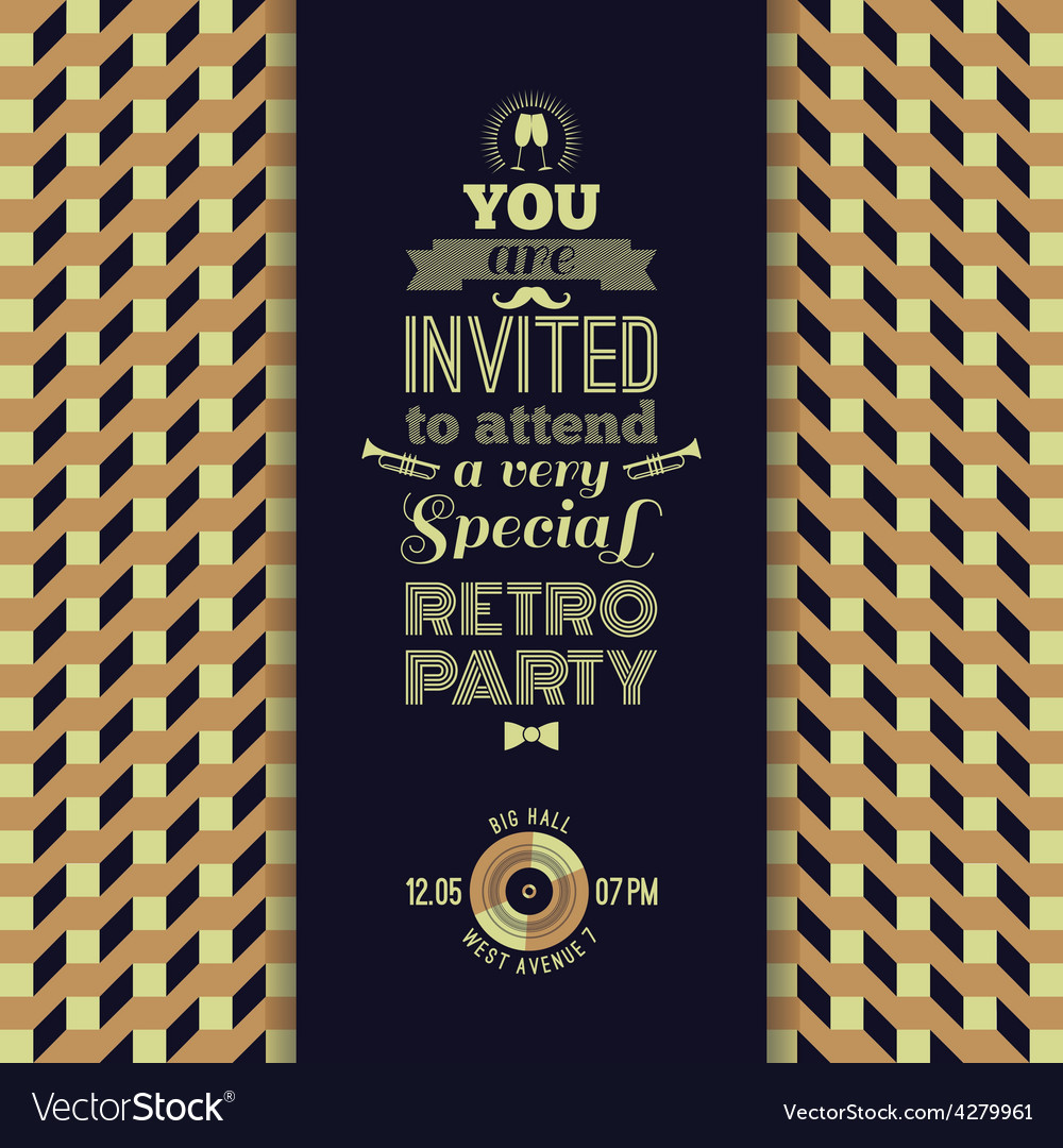 Invitation to retro party vintage retro geometric vector | Price: 1 Credit (USD $1)