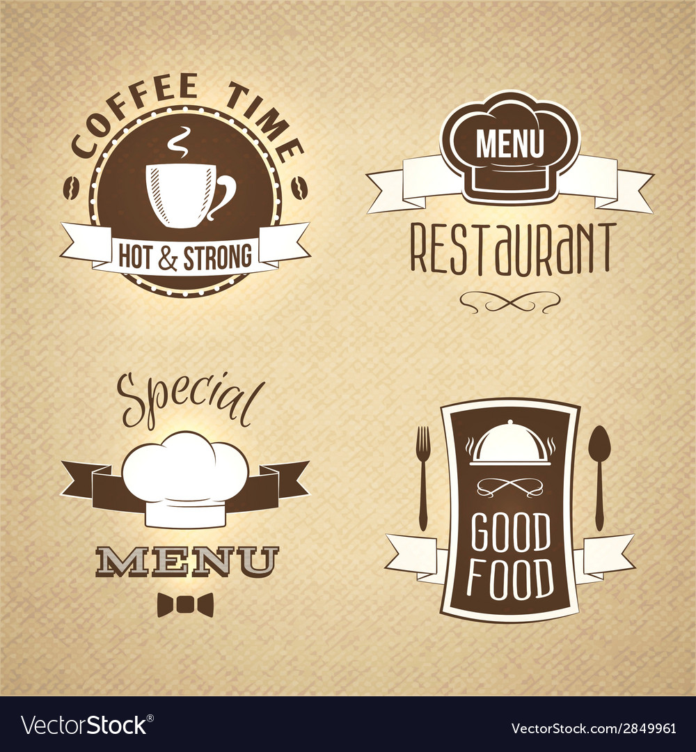 Restaurant menu emblems set textured vector | Price: 1 Credit (USD $1)