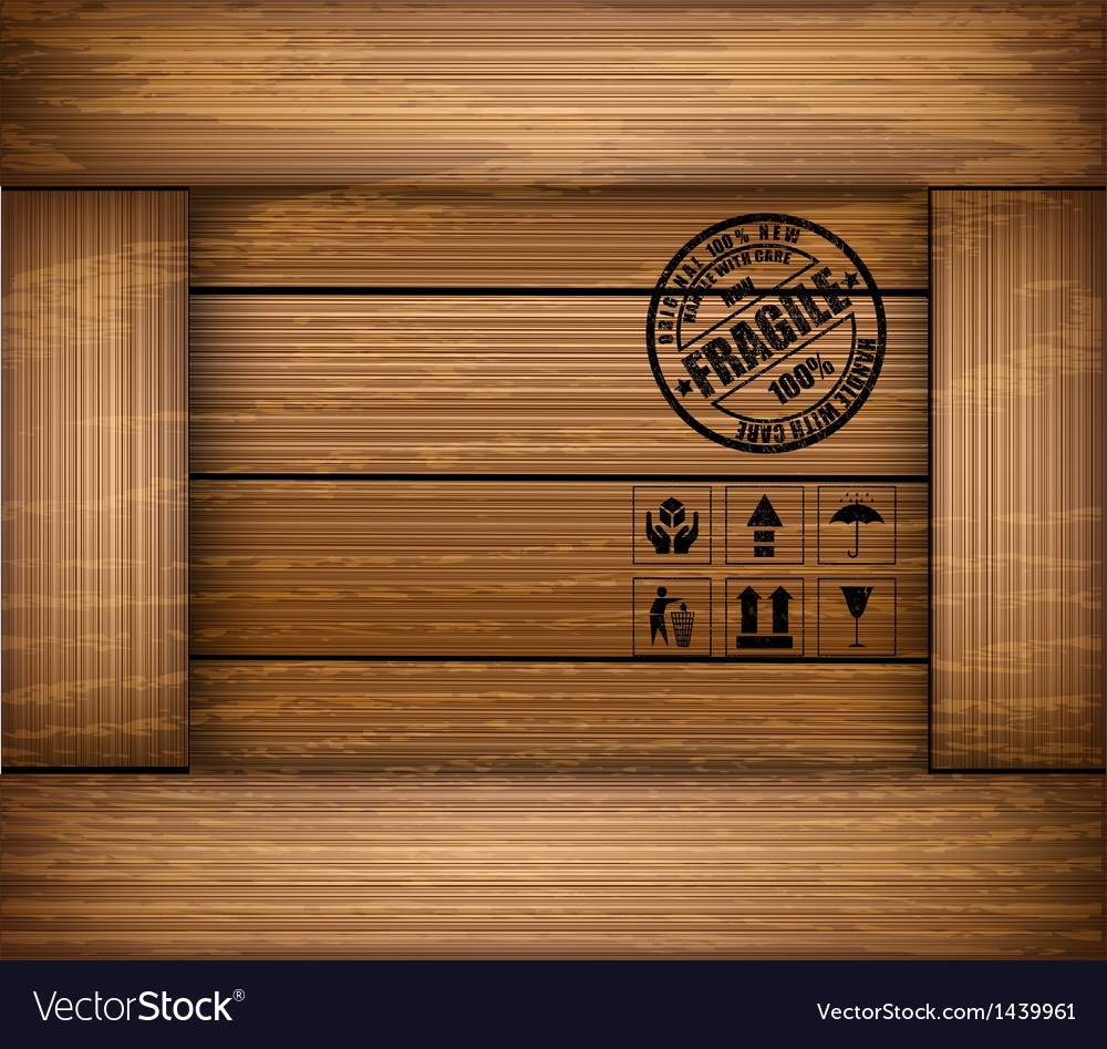 Safety fragile sticker icon on texture wooden box vector | Price: 1 Credit (USD $1)