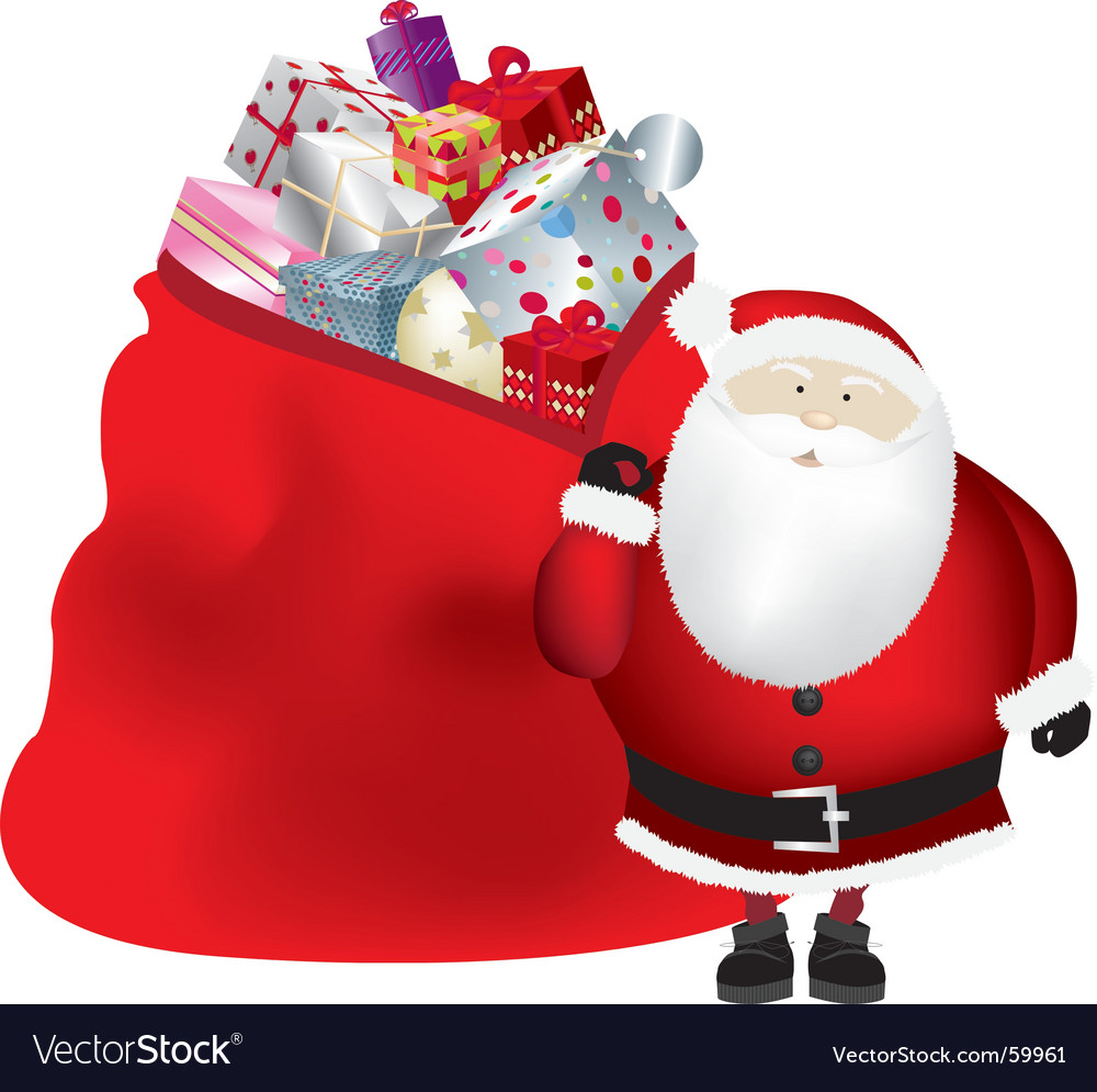Santa and sack vector | Price: 1 Credit (USD $1)