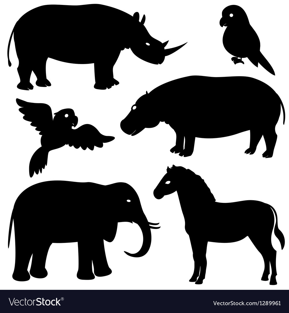 Set 1 of african animals silhouettes vector | Price: 1 Credit (USD $1)