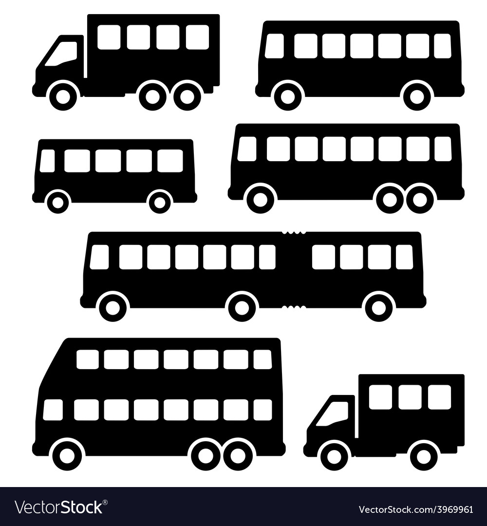Set bus silhouette on a white background vector | Price: 1 Credit (USD $1)