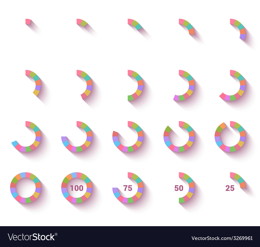 Set of brightly colored pie charts vector | Price: 1 Credit (USD $1)