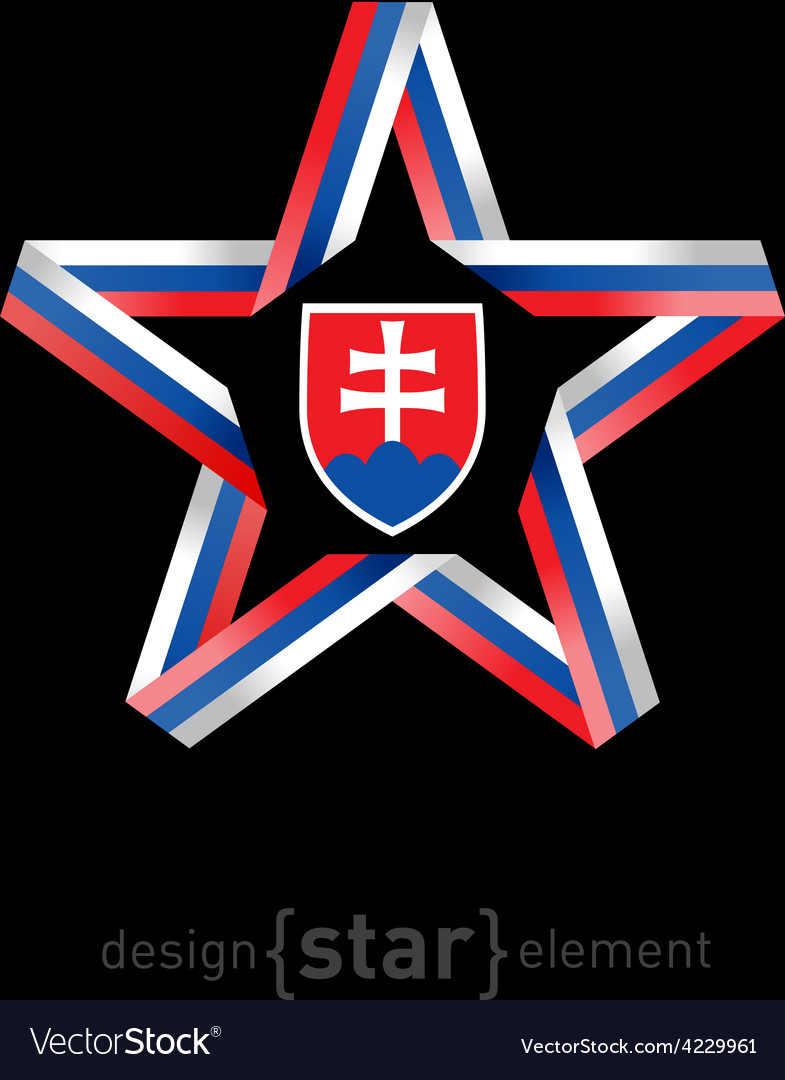 Star with slovakia flag colors and coat of arms on vector | Price: 1 Credit (USD $1)