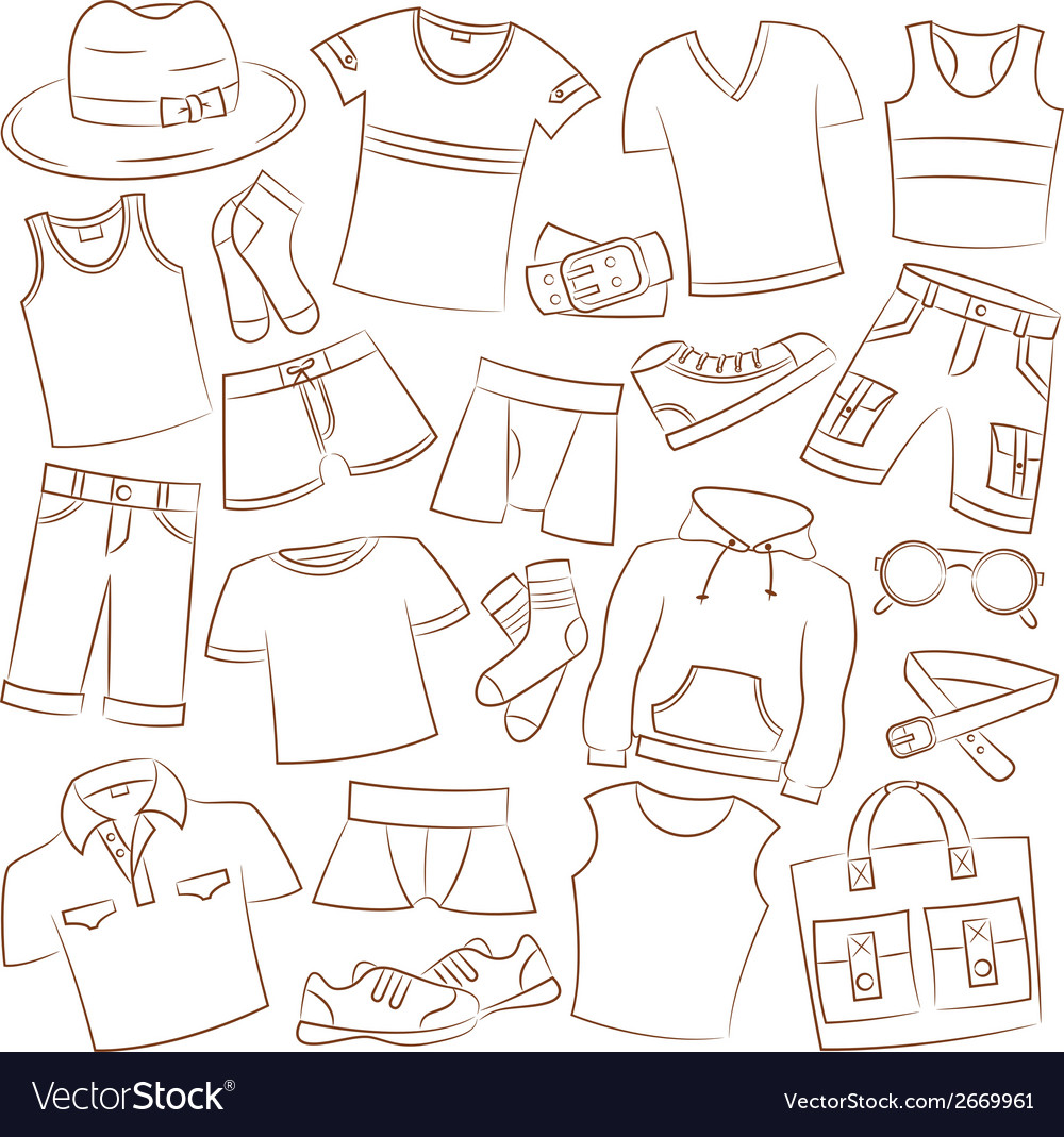 Summer menwear and accessories vector | Price: 1 Credit (USD $1)