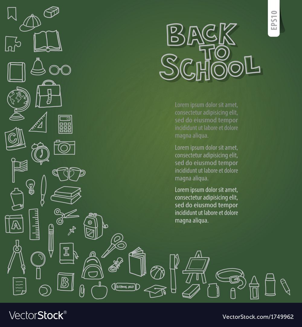 Back to school on chalkboard vector | Price: 1 Credit (USD $1)