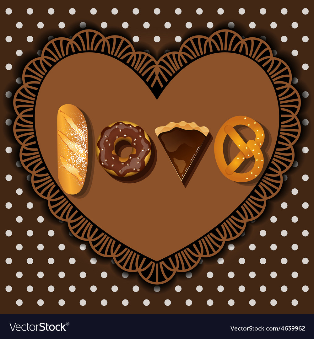 Bake goods in word of love shape vector | Price: 1 Credit (USD $1)
