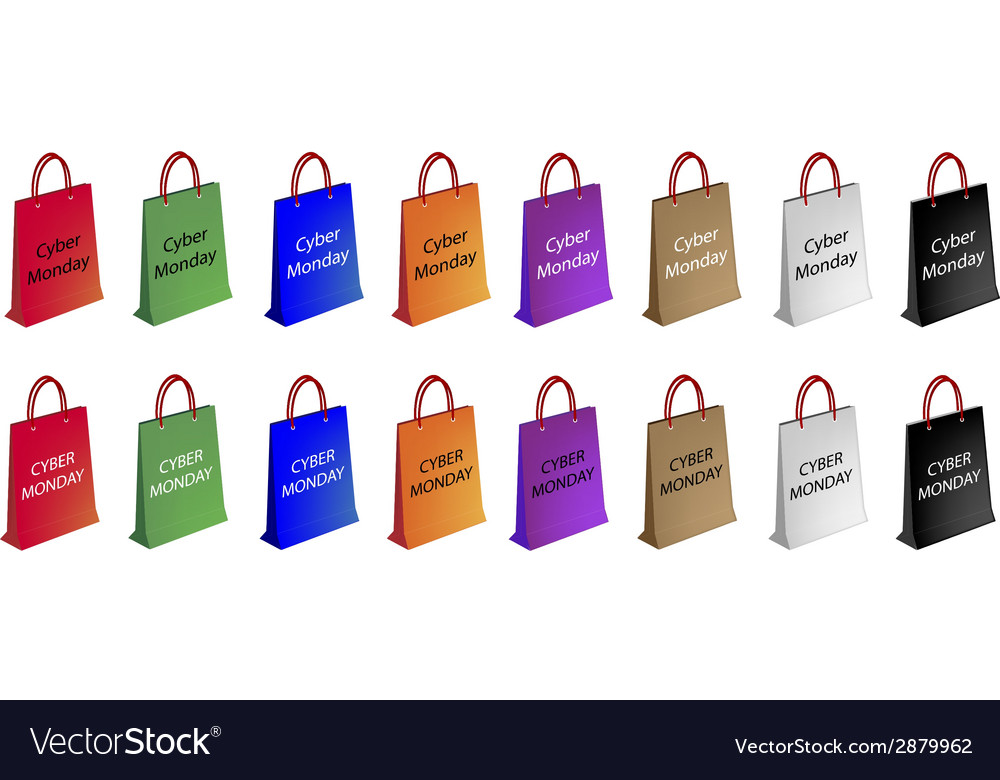 Colorful paper shopping bags for cyber monday vector | Price: 1 Credit (USD $1)