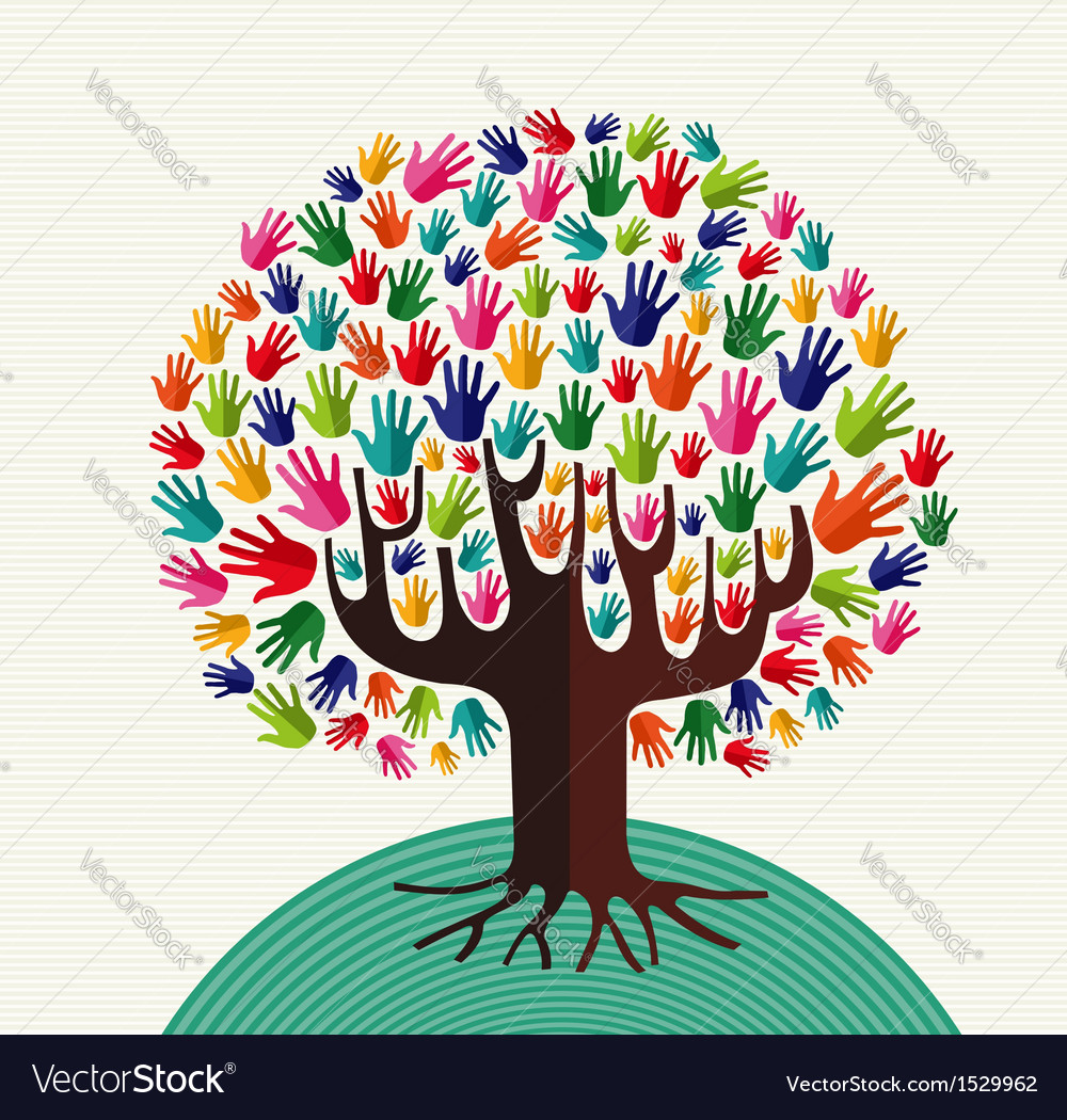 Colorful solidarity hands tree vector | Price: 1 Credit (USD $1)