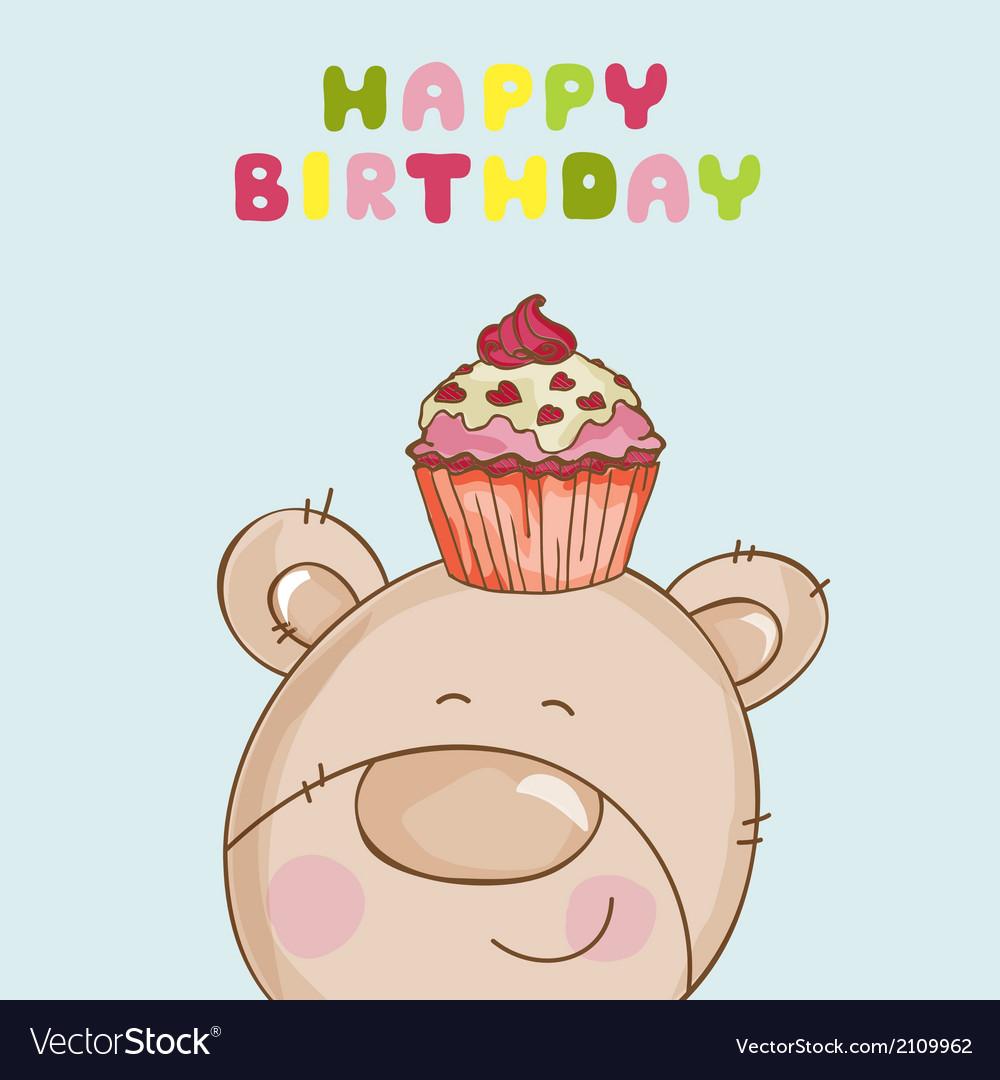Happy birthday card  baby bear with cupcake vector
