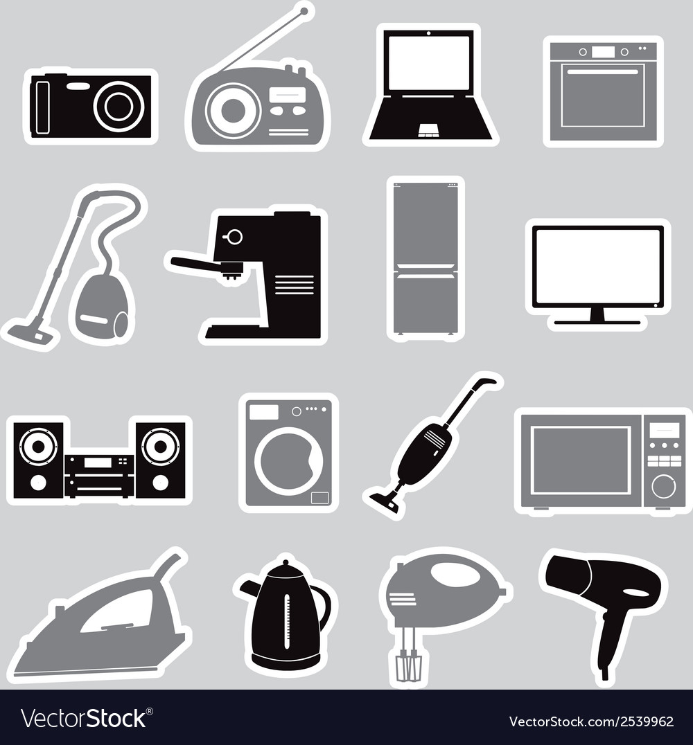 Home electrical appliances stickers set eps10 vector | Price: 1 Credit (USD $1)