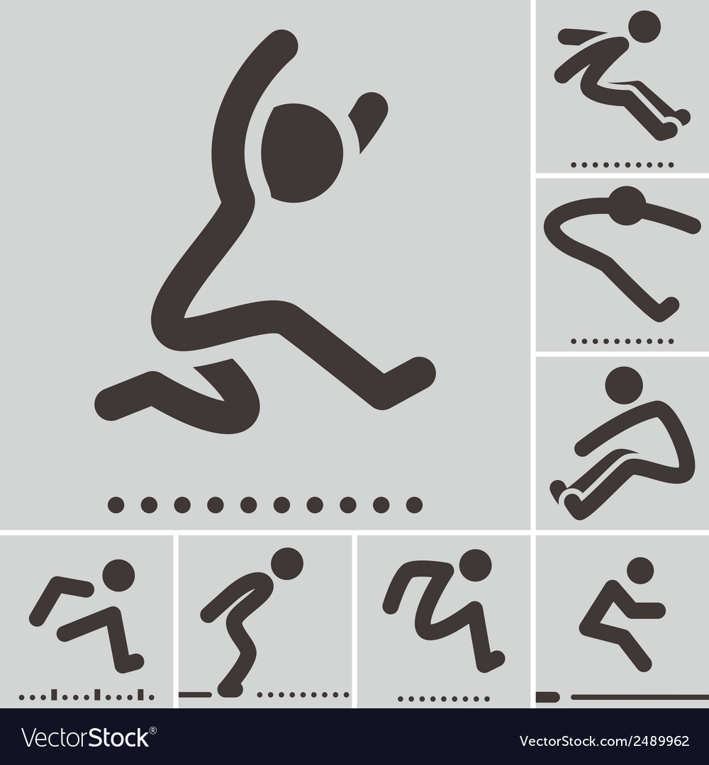 Long jump icons vector | Price: 1 Credit (USD $1)