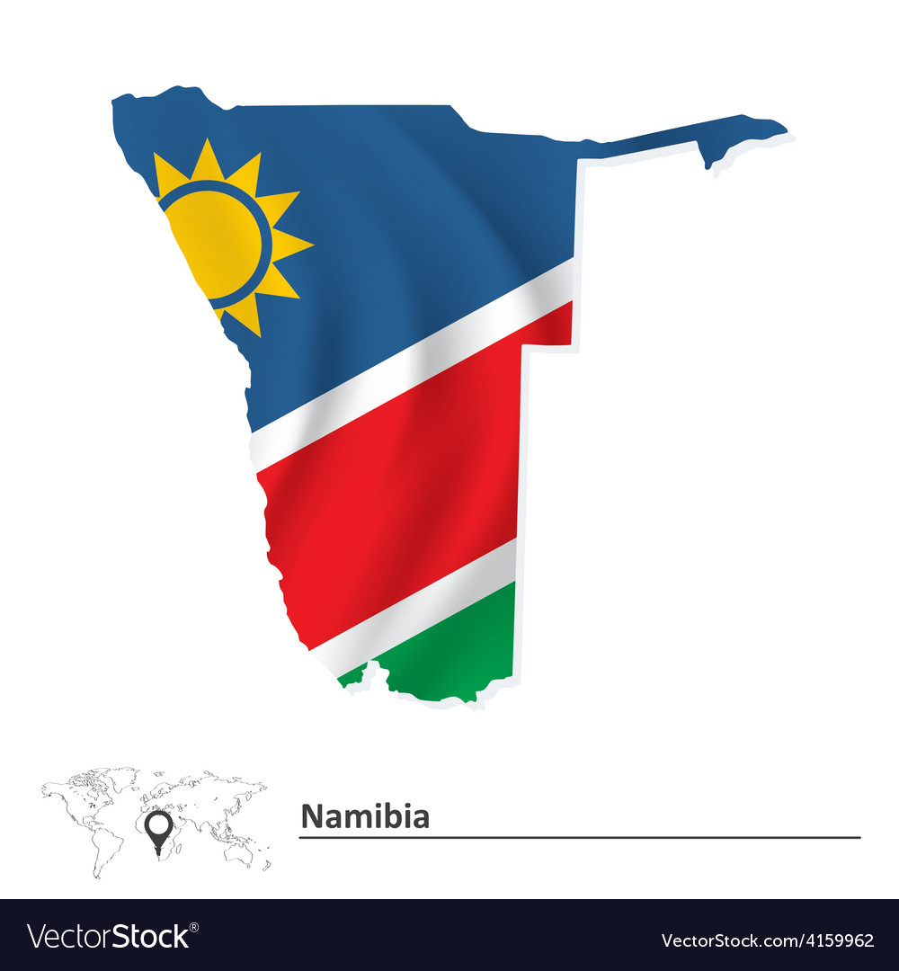 Map of namibia with flag vector | Price: 1 Credit (USD $1)