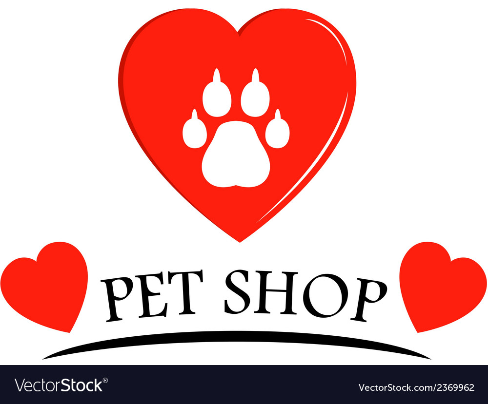 Pet shop icon with hearts vector | Price: 1 Credit (USD $1)