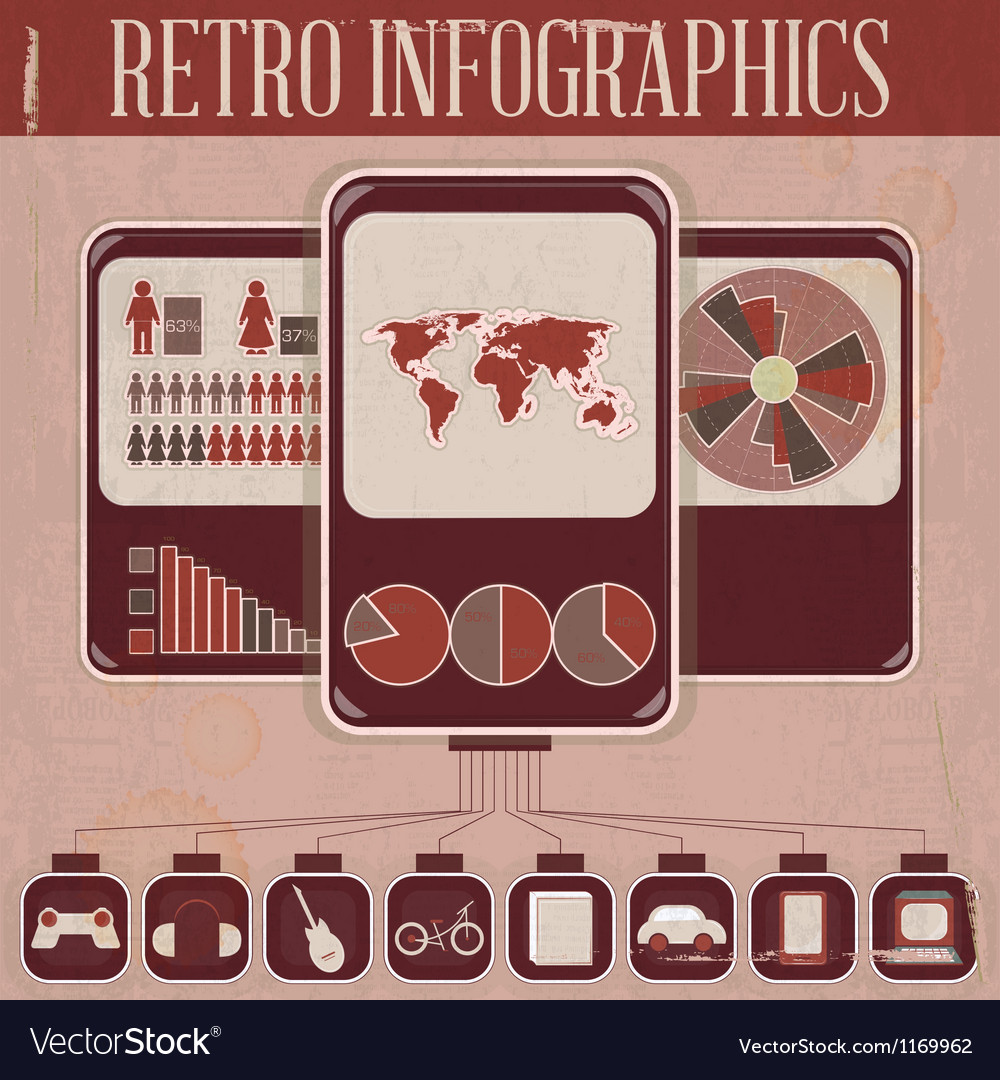 Retro infographic phone design vector | Price: 1 Credit (USD $1)
