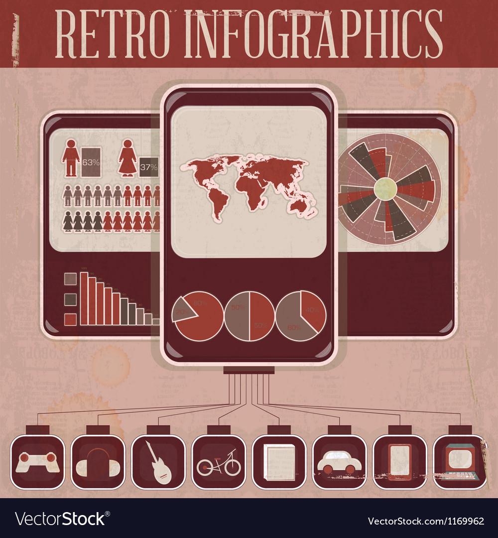 Retro infographic phone design vector | Price: 1 Credit (USD $1)