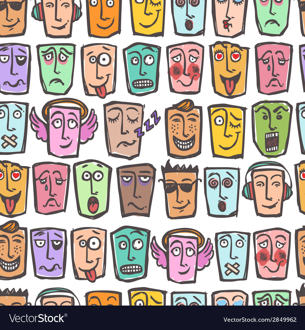 Sketch emoticons seamless pattern vector | Price: 1 Credit (USD $1)
