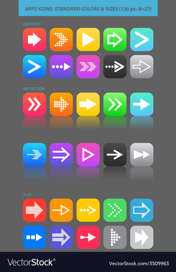 Apps navigation icons set with arrows for ui vector   Price: 1 Credit (USD $1)