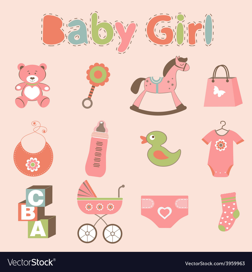 Baby girl related elements collection vector | Price: 1 Credit (USD $1)