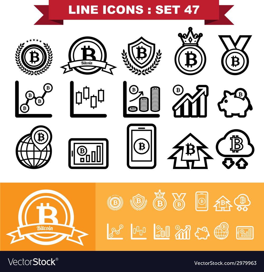 Bitcoin line icons set 47 vector | Price: 1 Credit (USD $1)