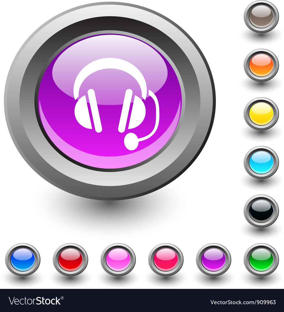 Call center round button vector | Price: 1 Credit (USD $1)