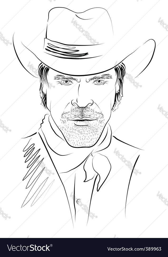 Cowboy face vector | Price: 1 Credit (USD $1)
