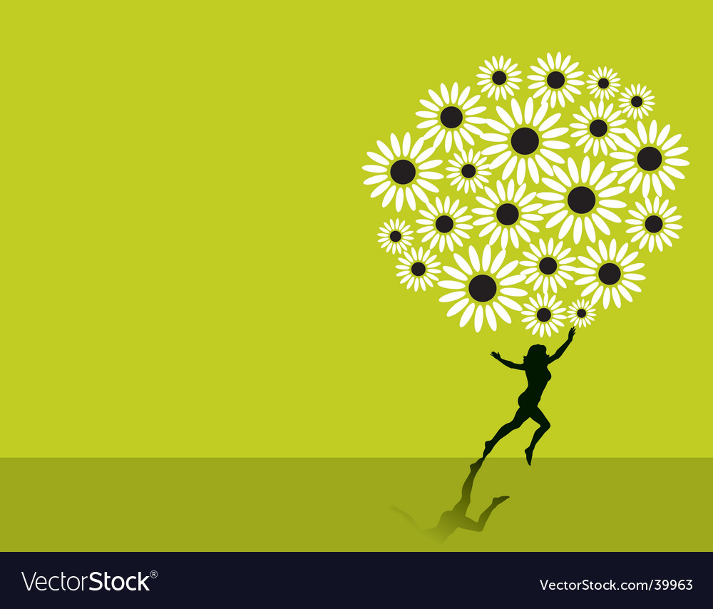 Floral tree woman vector | Price: 1 Credit (USD $1)