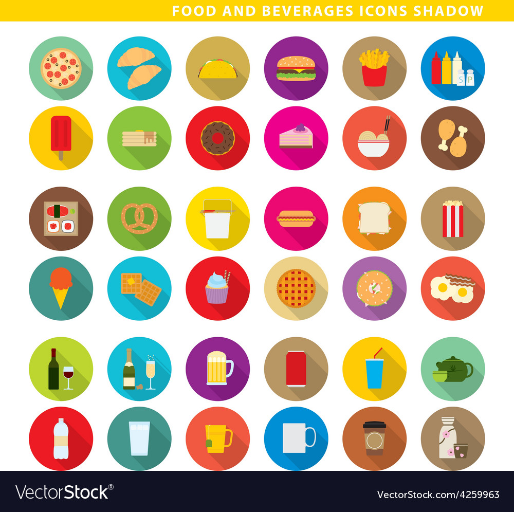 Food and beverages icons shadow vector   Price: 1 Credit (USD $1)