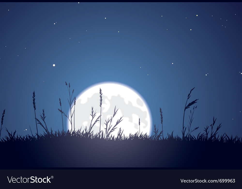 Grassy moonrise vector | Price: 1 Credit (USD $1)