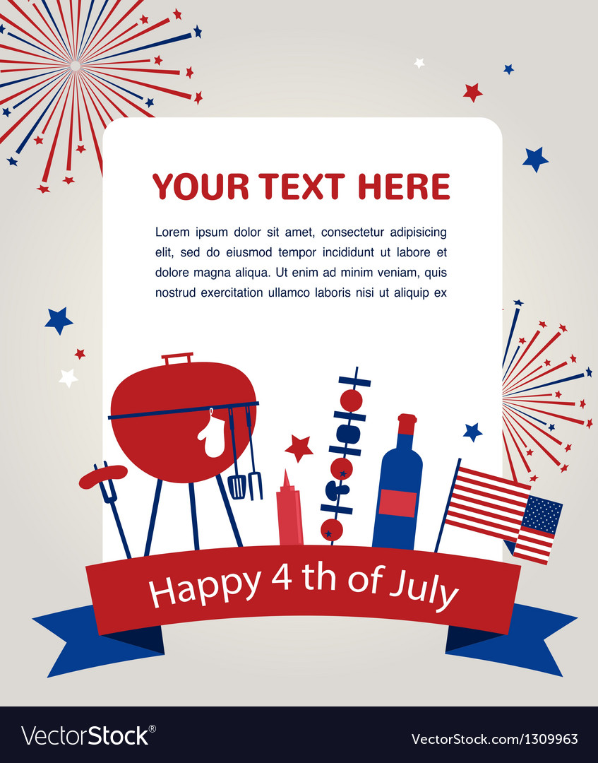 Happy independence day of america card or vector | Price: 1 Credit (USD $1)