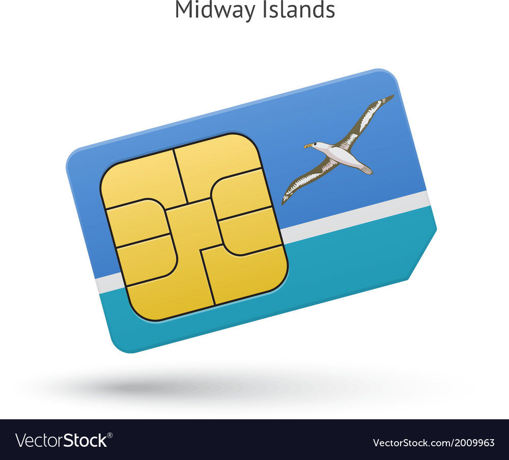 Midway islands mobile phone sim card with flag vector | Price: 1 Credit (USD $1)