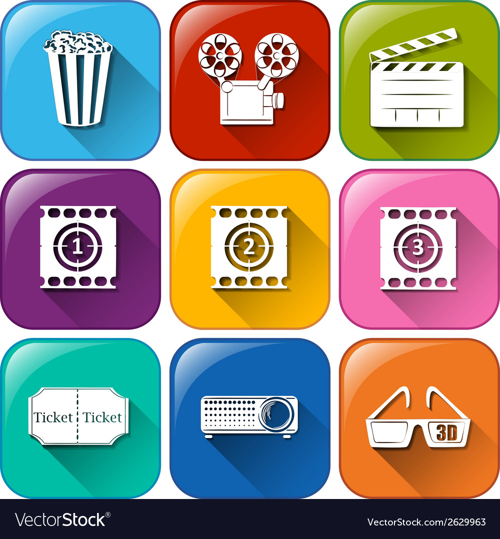Movie marathon icons vector | Price: 1 Credit (USD $1)