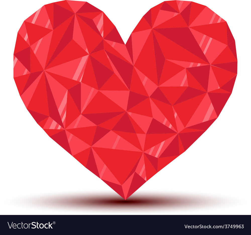 Polygonal ruby heart with reflection and shadow vector | Price: 1 Credit (USD $1)