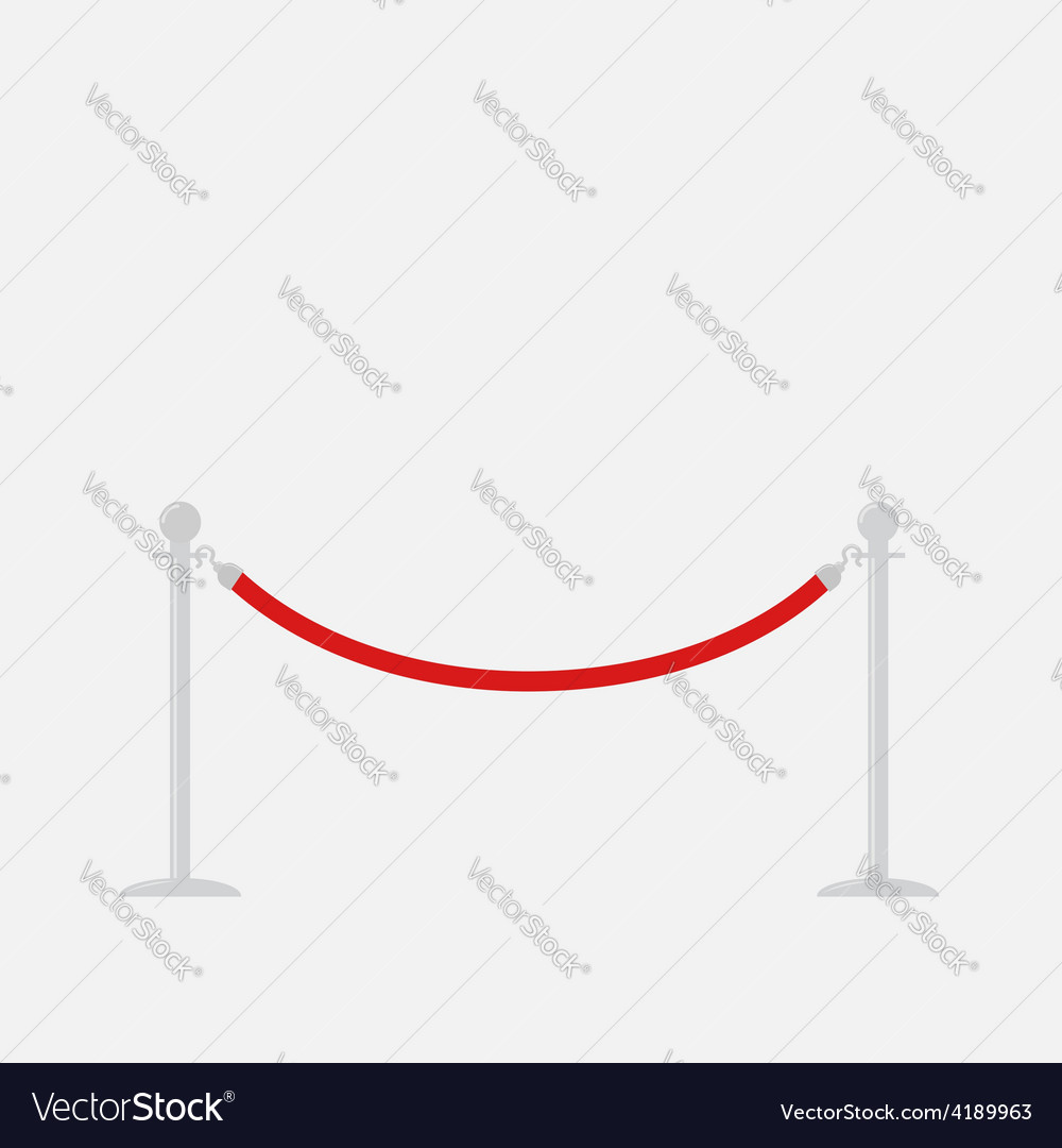 Red rope barrier stanchions turnstile isolated vector   Price: 1 Credit (USD $1)
