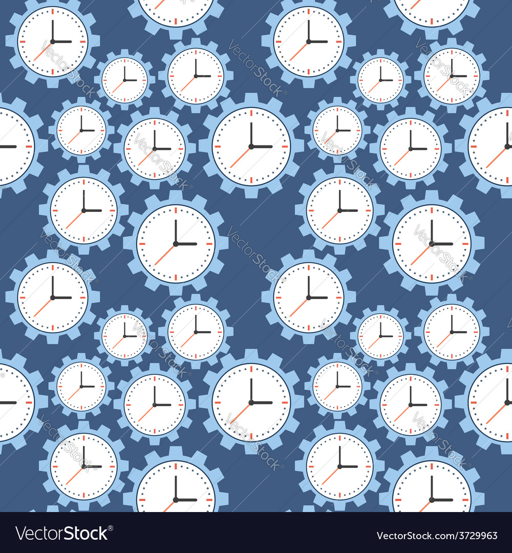 Seamless pattern cogwheels and clocks over blue vector | Price: 1 Credit (USD $1)