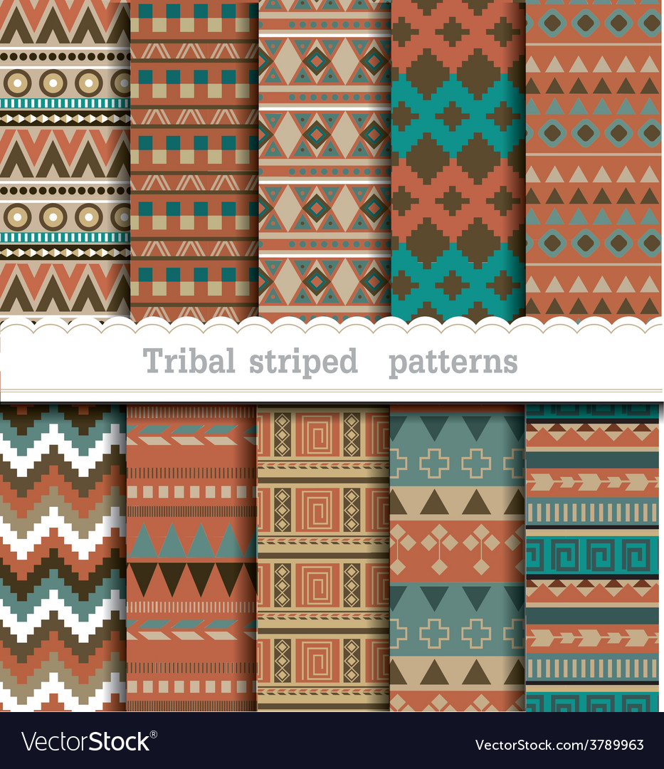 Tribal striped seamless patterns vector | Price: 1 Credit (USD $1)